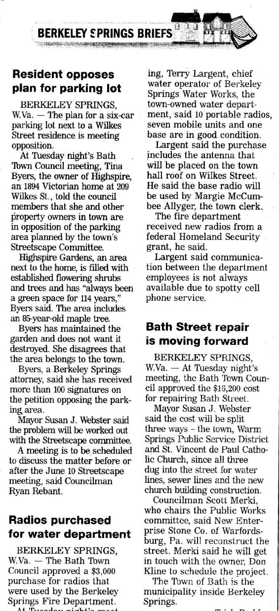 Herald Mail - 6-4-2008 - Highspire Parking Lot / Town Council Meeting
